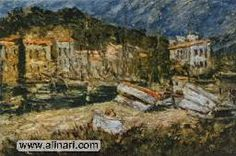 Les Martigues; painting by Adolphe Joseph Thomas Monticelli, French Private Collection