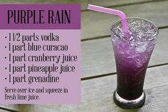 "Purple Rain cocktail recipe and 11 other vodka cocktails that are on our ""must try"" list. and Drink ideas alcohol 12 Vodka Cocktails Everyone Should Try During Their Lifetime Summer Drinks, Cocktail Drinks, Liquor Drinks, Cocktail Blog, Cocktail Night, Summer Drink Recipes, Beach Drinks, Summertime Drinks, Cocktail Ideas"