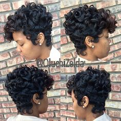 Women Short Black Brown FrontCurly Hairstyle Synthetic Hair Wigs For Black Women Levert Dropship - March 09 2019 at Short Wigs, Short Curly Hair, Short Hair Cuts, Curly Hair Styles, Natural Hair Styles, Curly Pixie, Pixie Cuts, Short Afro, Natural Wigs