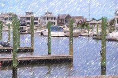 Boat Docks At Bald Head Harbor by Cathy Lindsey Bald Head Island, Bald Heads, Boat Dock, Artwork, Landscape Rake, Work Of Art, Auguste Rodin Artwork, Boathouse