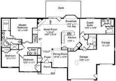 One Story Ranch House Designs | Ranch Home Plan 3984ST - Beautiful Brick and Stone Exterior by ...