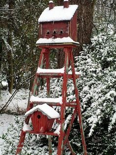 Ladder Birdhouse in the snow