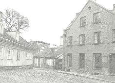 Old Street Corner Old Street, Framed Prints, Canvas Prints, Famous Artists, Norway, Art Pieces, Corner, Houses, Natural