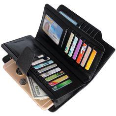 Alavor Woman RFID Blocking Trifold Wallet Long Clutch Credit Card Organizer Purse >>> For more information, visit now : Handbag Wallets