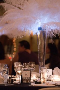 #Feathers #centerpieces at our #wedding