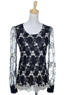 Anna-Kaci S/M Fit Black White Tablecloth Flower Overlay L/S Sheer Embellish Top Anna-Kaci. $23.00. Save 41%!