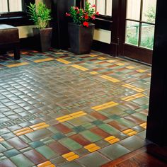 Floor tile mosaic in luxurious earth tones by Motawi Tileworks Arts And Crafts Interiors, Arts And Crafts House, Home Crafts, Craftsman Tile, Craftsman Interior, Craftsman Decor, Craftsman Houses, Craftsman Bathroom, Craftsman Kitchen