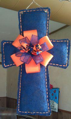 AU Auburn University colors stuffed burlap door by TheBoiledNuts, $15.00