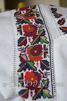 "Вишиванка ""Бойківські ружі"" Butterfly Cross Stitch, Cross Stitch Bird, Cross Stitch Borders, Cross Stitch Designs, Cross Stitch Embroidery, Hand Embroidery, Cross Stitch Patterns, Embroidery Designs, Ethno Style"