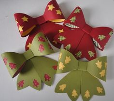Bows created using Stampin Up's Big Bows Die. 3d Paper Projects, Paper Crafts, Post It Note Holders, Gift Bows, Craft Show Ideas, Paper Stars, Scrapbook Cards, Scrapbooking, Paper Folding