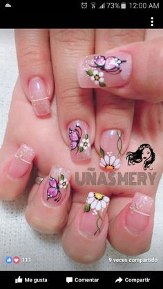 Butterfly Nail Designs, Butterfly Nail Art, Pink Nail Designs, Flower Nail Art, Easter Nail Designs, Silver Nails, White Nails, Gorgeous Nails, Pretty Nails