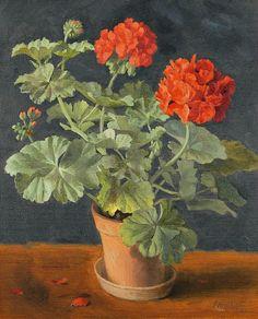 Ernst Kreidolf Geraniums in a Pot 1944 #pelargonium
