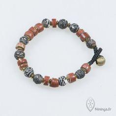 by Mininga Designs   www.miningadesigns.com   Nuul   vintage - bracelet - african bead - abo - bauxite - clay - brass