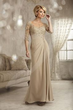 Jacquelin Bridals Canada - 17823 - Mother of Bride - Embroidered lace forms  the bodice fe868415141