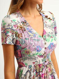 57313d03f3 Button Split Front Flare Maxi Dress -SheIn(Sheinside) Vestido Jeans
