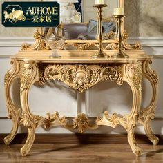 爱家居 欧式实木雕花玄关台法式古典门厅玄关桌装饰台案背几PD04