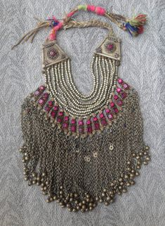 Vintage Afghanistan Pashtun Tribal Silver Necklace