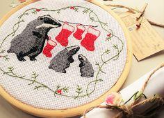 Christmas badgers modern cross stitch Pattern