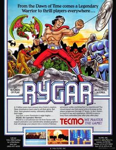 "Promotional poster for ""Rygar,"" a platformer arcade game produced by Tecmo in 1986 that was later ported to consoles."