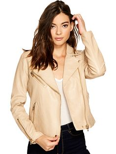 b28a4bb1dc2 Blank NYC Natural Vegan Leather Moto Jacket in Natural Light Moto Jacket