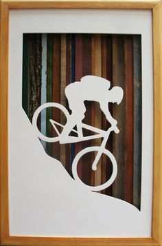 Mountain Biker Silhouette  17 by 11 by Derrierelesbois on Etsy