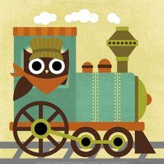 Owl Train Conductor Art Print at AllPosters.com