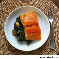 Matt Lambert's honey-glazed salmon and sautéed kale. The Musket Room chef's citrus-cured, honey-glazed salmon and a garlicky, briny kale dish hits all the right notes. http://www.winespectator.com/webfeature/show/id/50587
