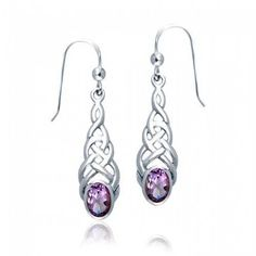Bling Jewelry Celtic Knotwork Oval Simulated Amethyst Silver Drop Earrings ** Be sure to check out this awesome product.