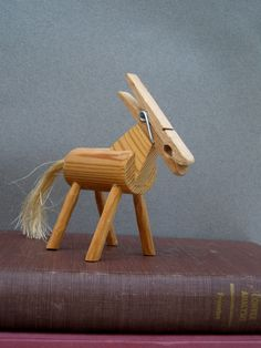 Wooden horse, Notes holder, craft-work, on the table, vintage,home decor, collectible