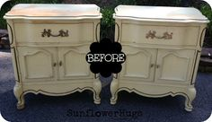 French Country Night Tables.  Her colors and use of chalk paint are interesting.  I would not have left the top bare but that's the fun of re-do's!
