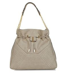 Grey Chevron Quilted Shoulder Bag