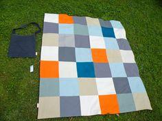 fichu chiffon picnic blanket :square head- blue n' orange blanket www.lacabaneatelier.com