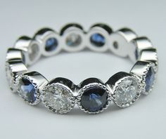 Wedding Band - Diamond & Blue Sapphire Vintage Eternity Wedding Ring