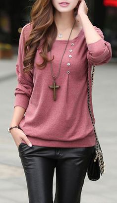 Round Neck Long Sleeve Cotton Tee