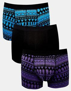 ASOS 3 Pack Trunks With Dark Aztec Design