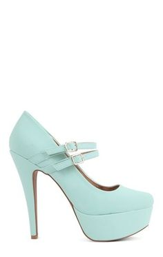 Deb Shops #Mint Double Strap Maryjane Platform Pump $32.90