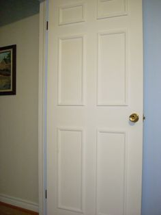 Some info on how to add inexpensive molding to a cheap hollow core door to make it look better. Kels and Brit, You need to get your hubbys to do this! Diy Interior, Interior Decorating, Interior Doors, Interior Painting, Interior Design, Decorating Tips, Home Renovation, Home Remodeling, Closet Door Makeover