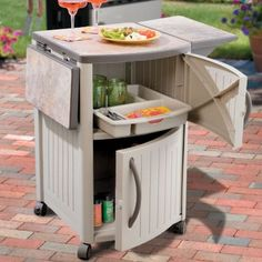 Outdoor food prep station - you won't have to leave your guests to prepare the food.