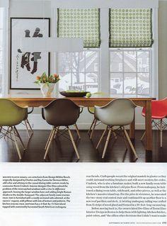 Design New England magazine   September/October 2014  Product: Eames Molded Plastic Dowel-Leg Armchairs