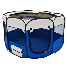 "Blue 45"" Pet Puppy Dog Playpen Exercise Pen Kennel 600d Oxford Cloth"