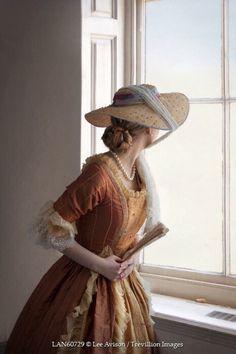 © Lee Avison / Trevillion Images - Century-woman-wearing-hat-looking-out-window 18th Century Fashion, 18th Century Clothing, Historical Women, Historical Clothing, Historical Romance, Victorian Fashion, Vintage Fashion, Vintage Dresses, Vintage Outfits