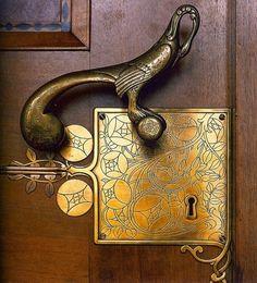 Gorgeous Art Nouveau door handle and finger plate...who says door handles can't be fancy!