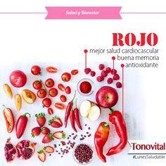 Continuando acerca de los COLORES de los ALIMENTOS hoy te comentamos sobre el COLOR ROJO, los alimentos de color rojo contienen antioxidantes: licopeno y antocianinas. Los cuales te ayudan a: tener una mejor salud cardiovascular, mantener una buena memoria, disminuir el riesgo de cáncer y enfermedades del sistema urinario. Los alimentos de color rojo son: cereza, frambuesa, fresa, granada, manzana roja y sandía. En hortalizas como el pimiento rojo, rábano, tomate y remolacha. #Tonovital