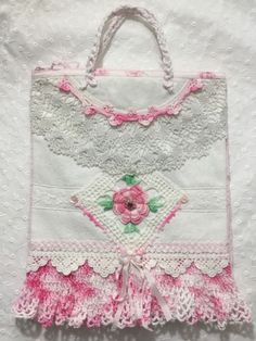 Petite HM Rice Bag for vintage lace and pink rose lovers! Pink rose lined pretty  | eBay