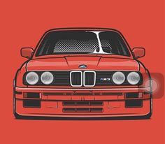 M Cartoon Car Drawing, Car Drawings, Bmw E30 M3, Bmw Wallpapers, Chevy S10, Car Illustration, Car Posters, Bmw 3 Series, Automotive Art