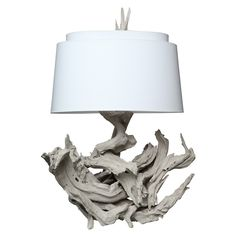 """Driftwood Table Lamp finished in F Elephant's Breath, 42""""h 36""""w"""
