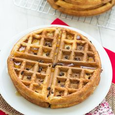 These Healthy Chocolate Chip Waffles are made with whole-wheat flour. The chocolate chips add antioxidants and sweetness, so you won't even need syrup!