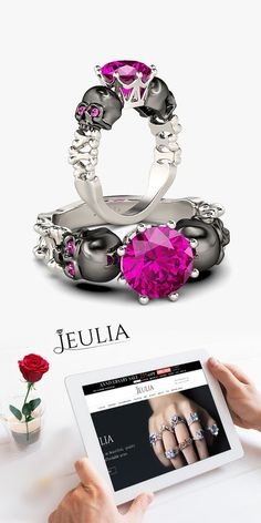 2-tone Two-skull Design Round Cut Ring #Jeulia
