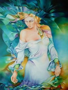 Brightness and vivid colors in paintings by Orestes Bouzon - Ego - AlterEgo Fantasy Kunst, Fantasy Art, Modern Art, Contemporary Art, Goddess Art, Silk Painting, Fantasy World, Illustrations, Female Art
