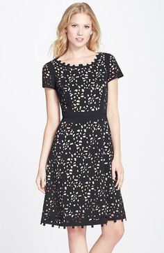 Nue by Shani Lasercut Crepe Fit & Flare Dress available at #Nordstrom